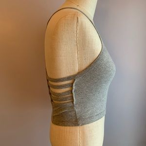 Forever 21 gray crop top ladder side cutouts SZ S
